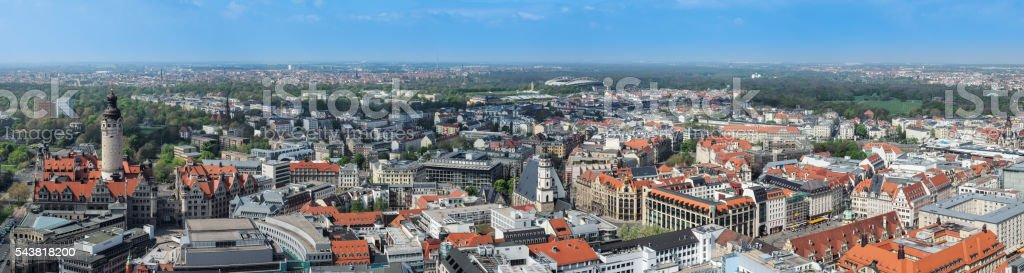 Aerial view of the city Leipzig, Germany stock photo