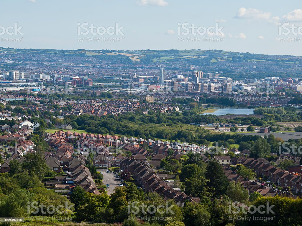 Aerial view of the city of Belfast stock photo
