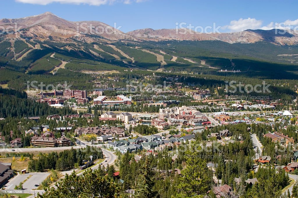 Aerial View of the City of Breckenridge royalty-free stock photo