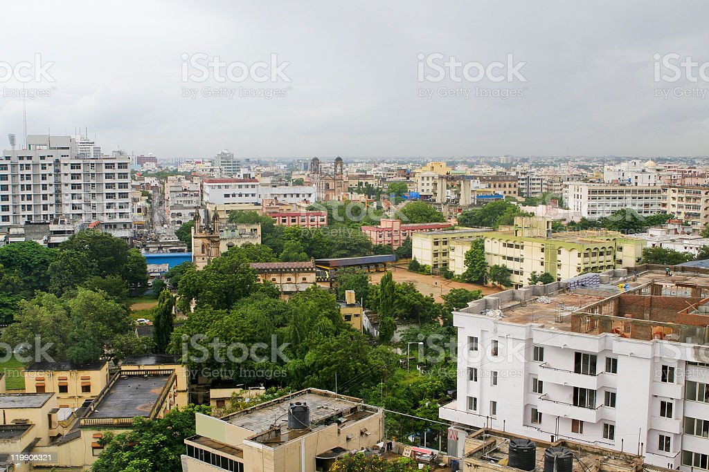 Aerial view of the city of Hyderabad in India on a gray day stock photo