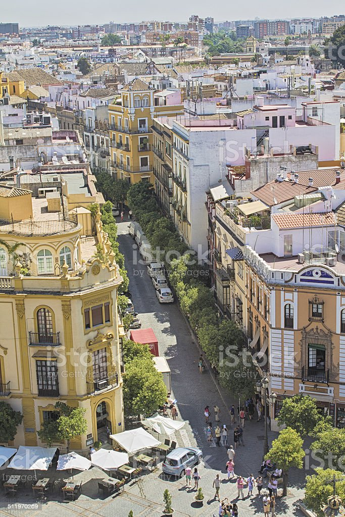 Aerial view of the city of Sevilla, Andalucia, Spain stock photo