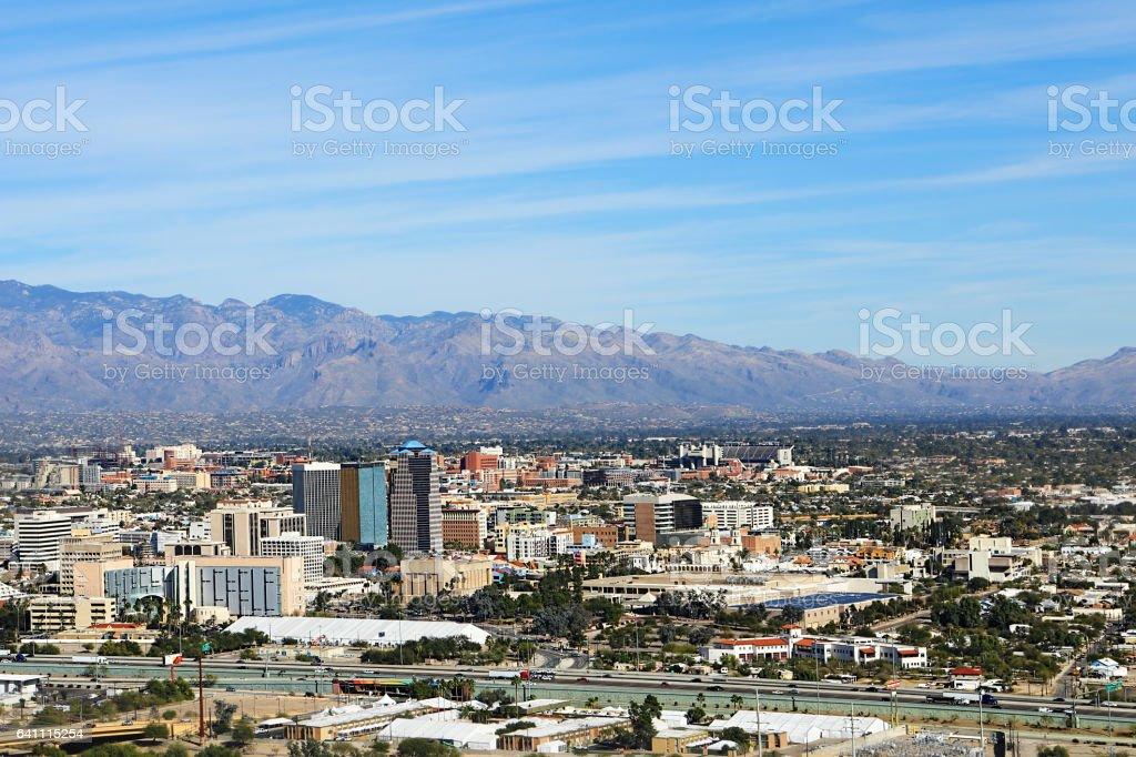 Aerial view of the city of Tucson, Arizona stock photo