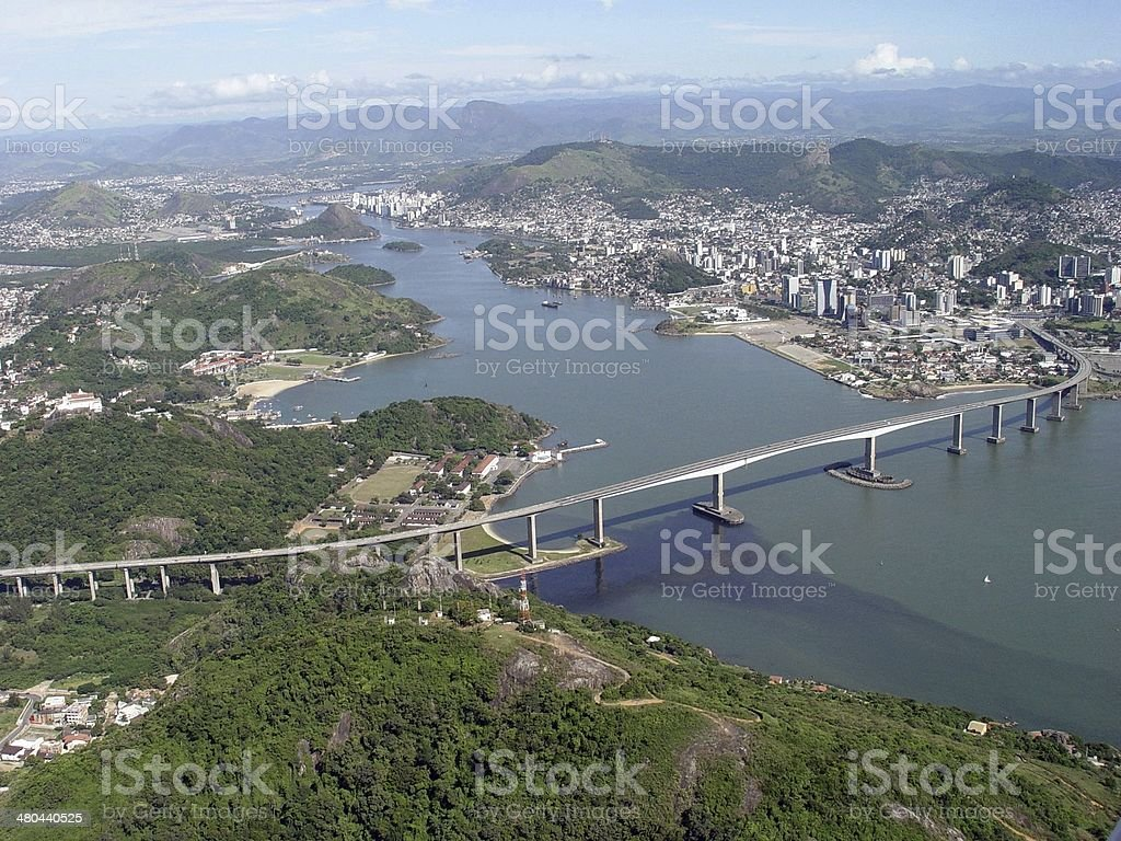 Aerial view of the city of Vit?ria and its high bridge royalty-free stock photo