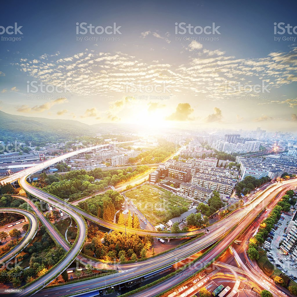 aerial view of the city overpass stock photo