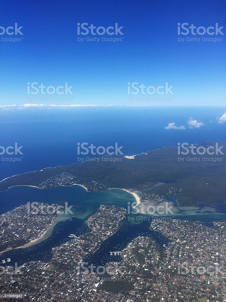 Aerial View of the City Southern Sydney Australia stock photo