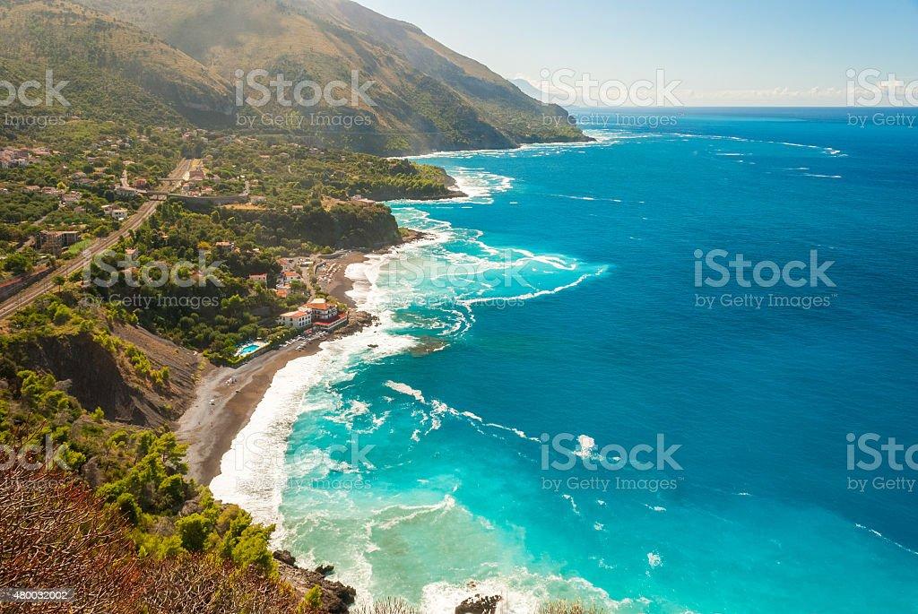 Aerial view of the coastline near Maratea (southern Italy) stock photo
