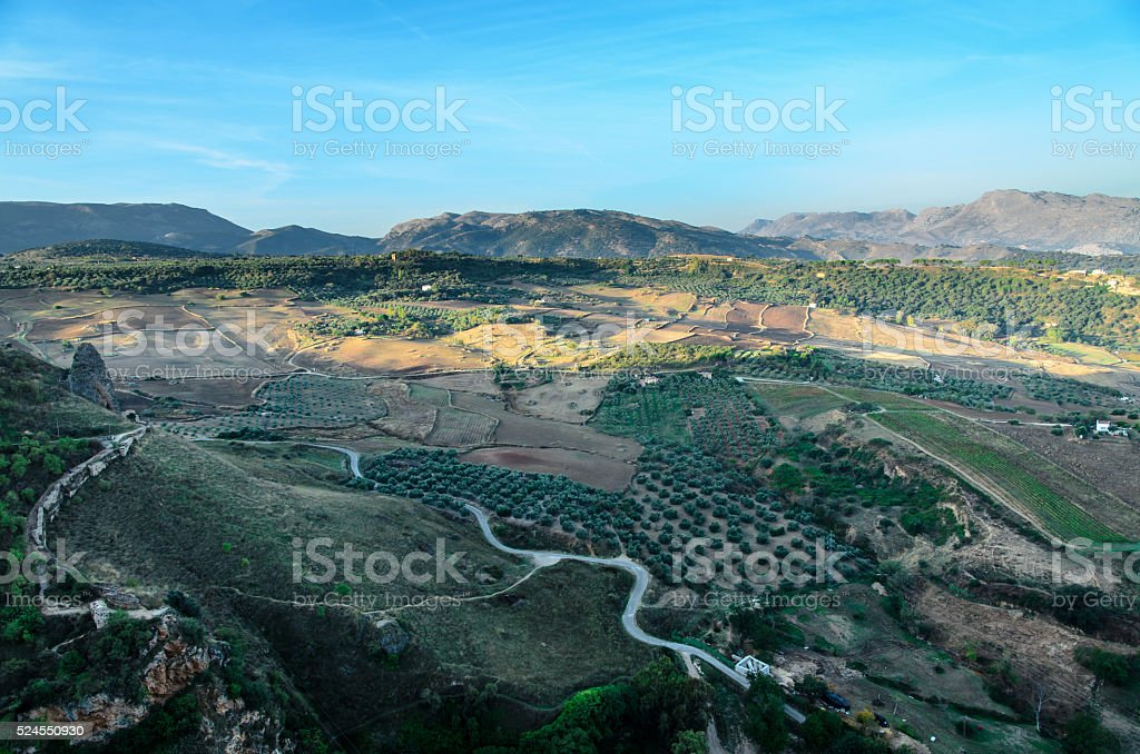 Aerial view of the countryside, Ronda, Spain stock photo