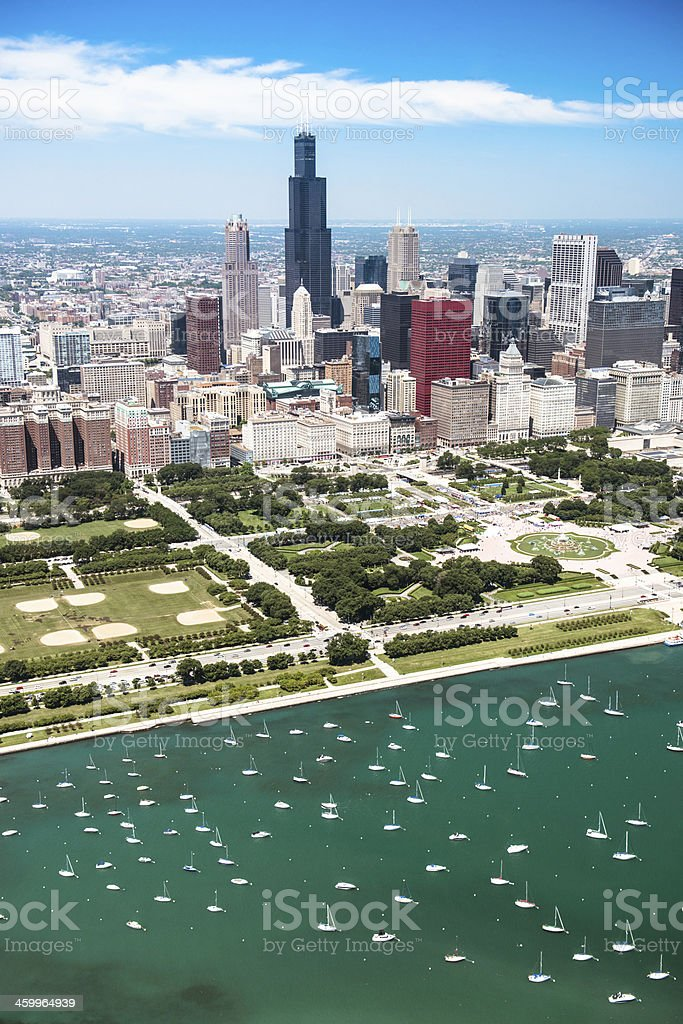 Aerial view of the downtown in Chicago stock photo