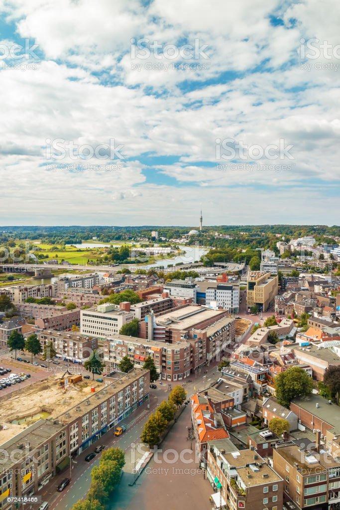 Aerial view of the Dutch city Arnhem stock photo