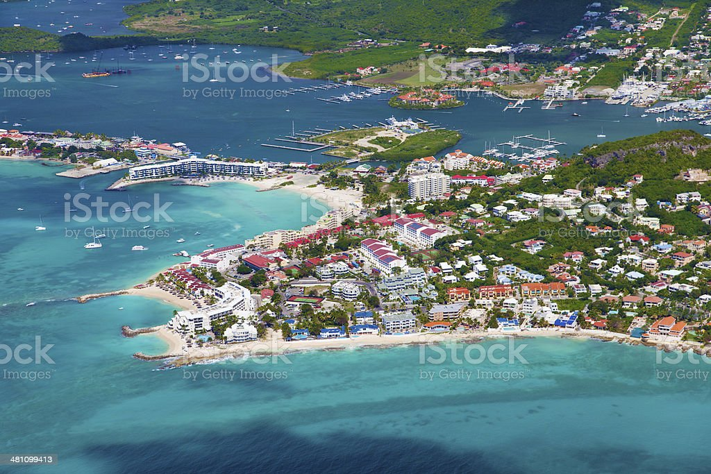 aerial view of the Dutch St.Martin, French West Indies stock photo