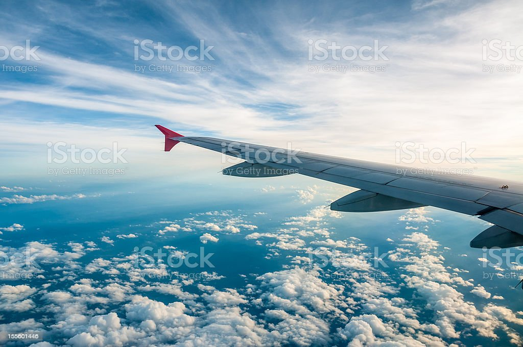 Aerial View Of The Earth From An Aeroplane Window stock photo