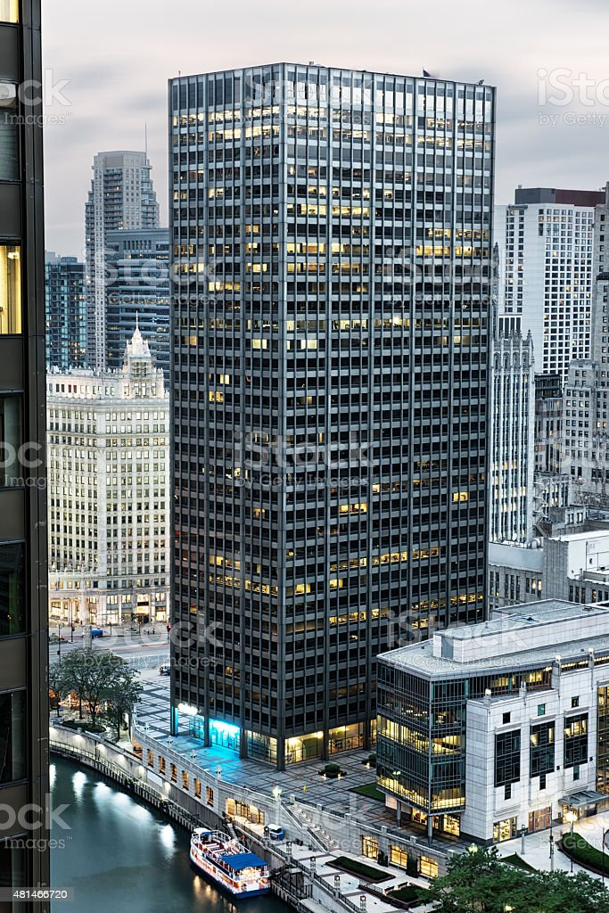 Aerial view of the  Equitable Building, downtown Chicago stock photo