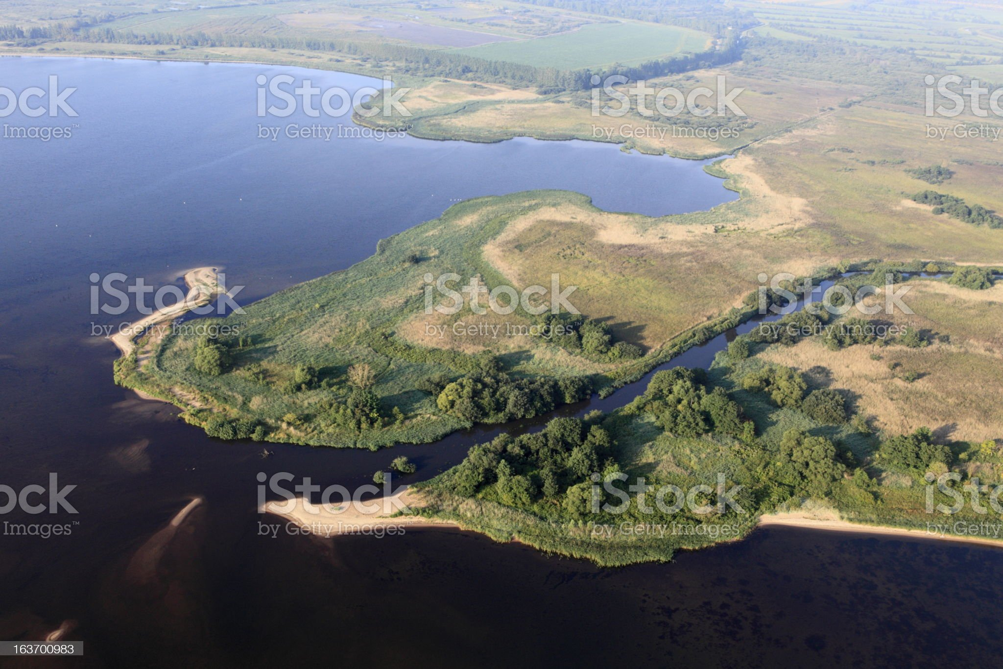 Aerial view of the estuary. Reda river royalty-free stock photo