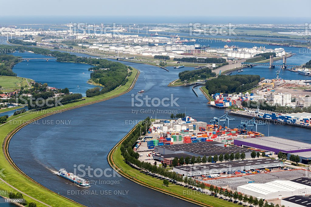 Aerial view of the Europoort stock photo