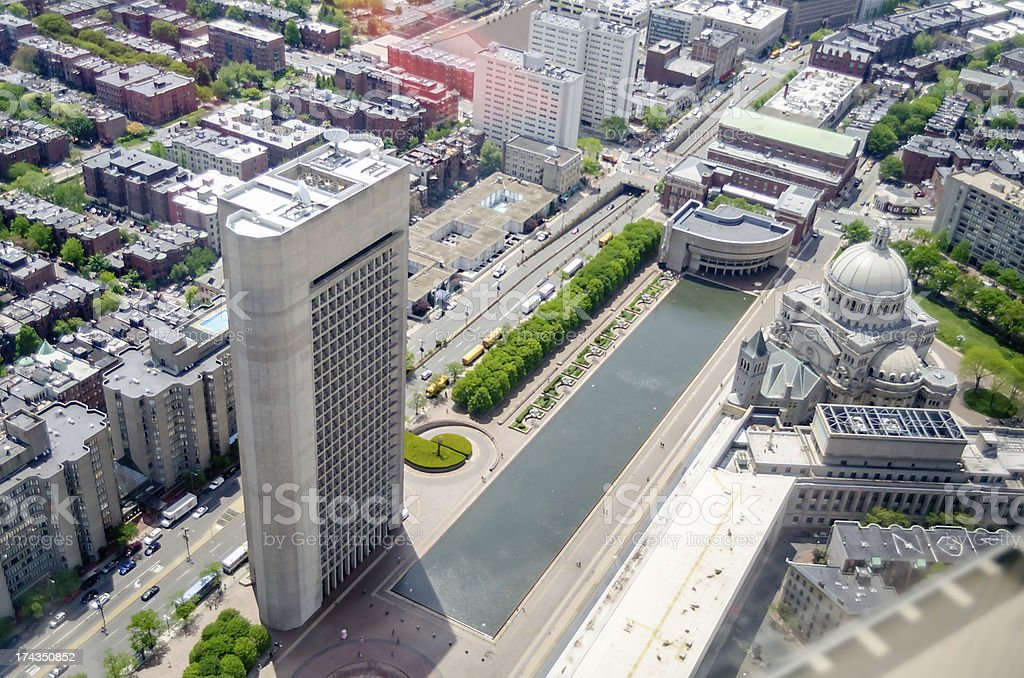 Aerial View of the First Church Christ Scientist, Boston royalty-free stock photo