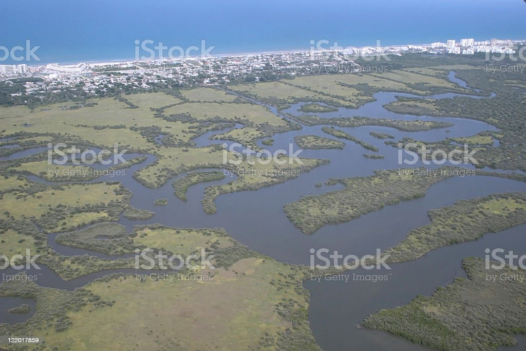 Aerial view of the florida coastline stock photo