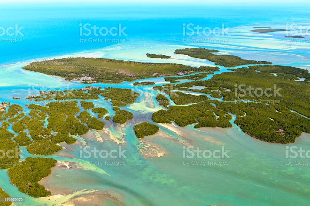 A aerial view of the Florida keys stock photo