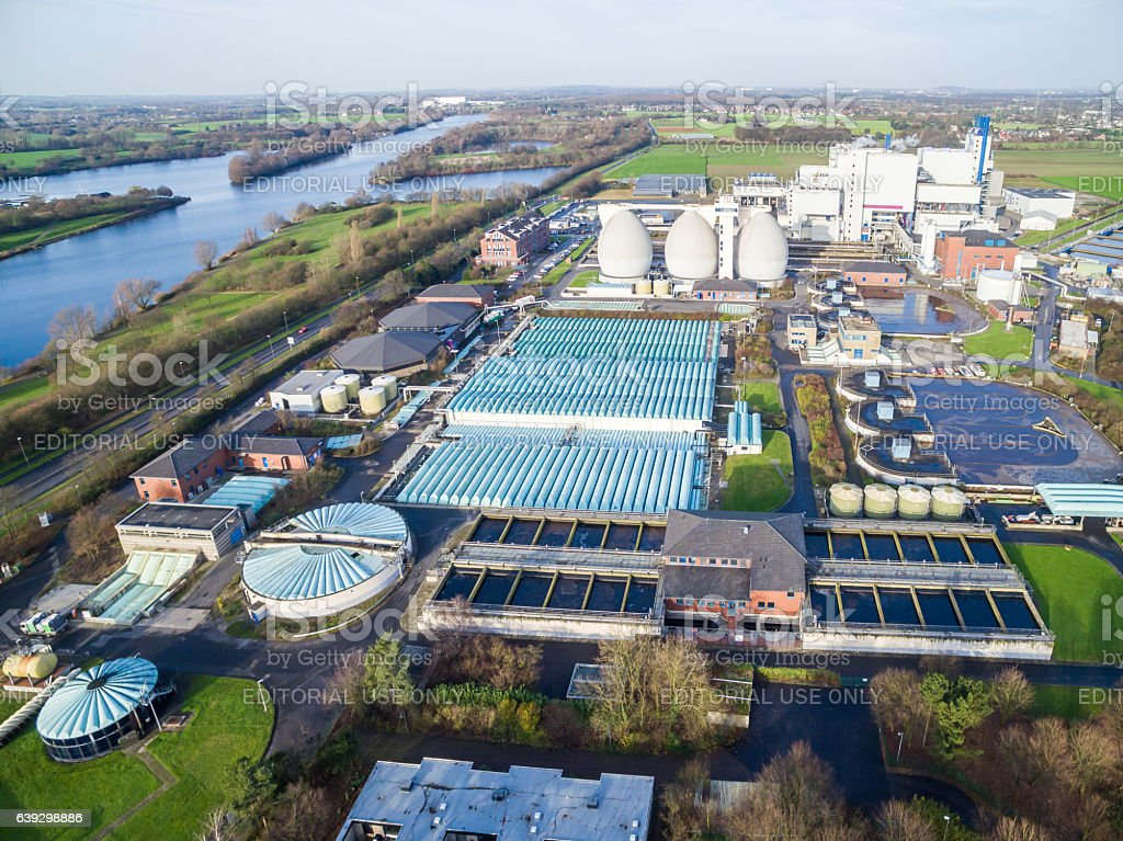 Aerial view of the garbage incinerating plant in Krefeld, Germany stock photo