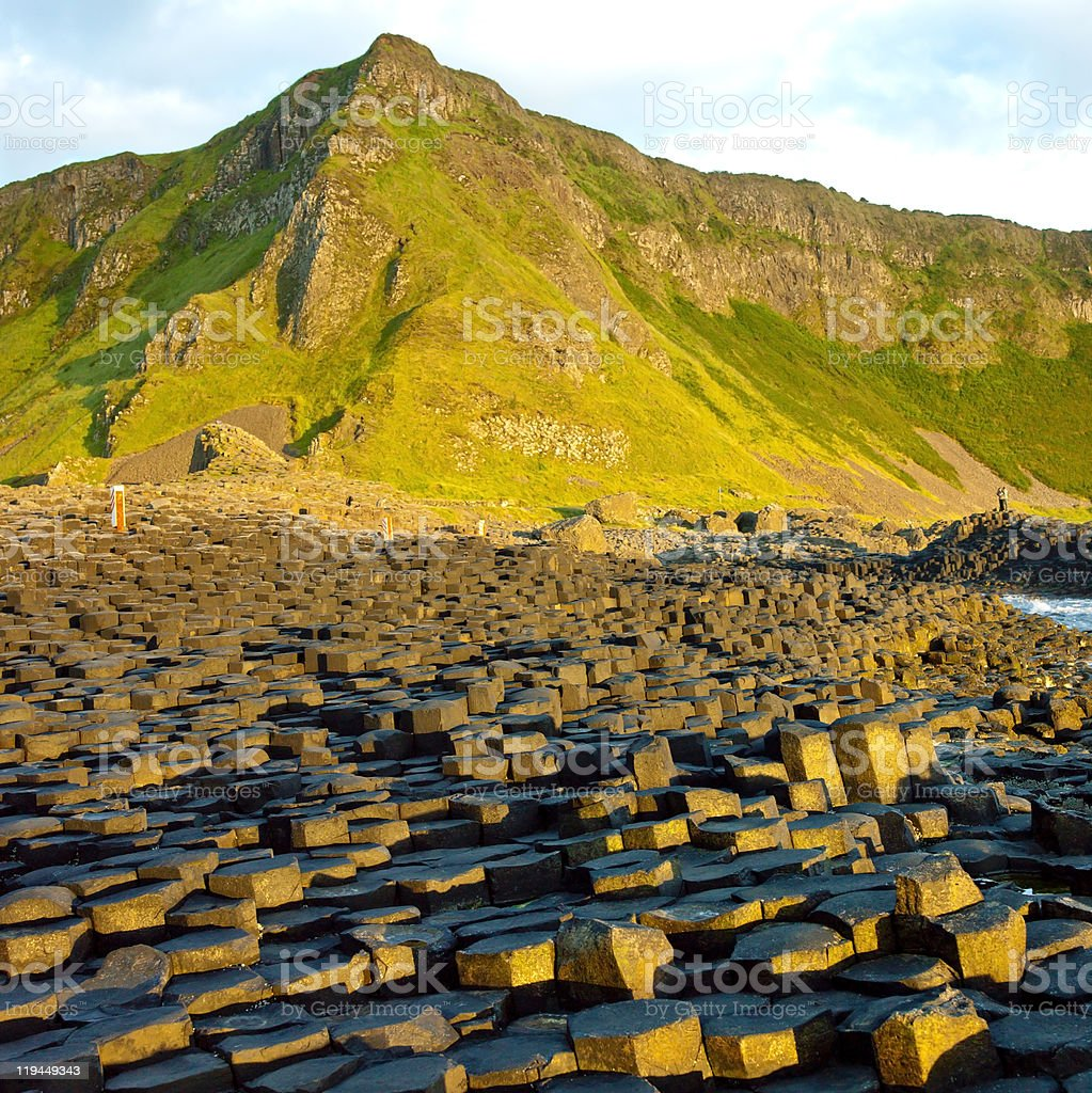 Aerial view of the Giants Causeway stock photo