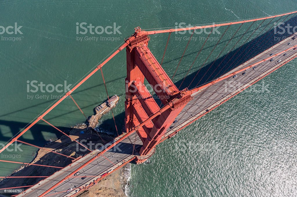 Aerial View of the Golden Gate Bridge Suspension Tower stock photo