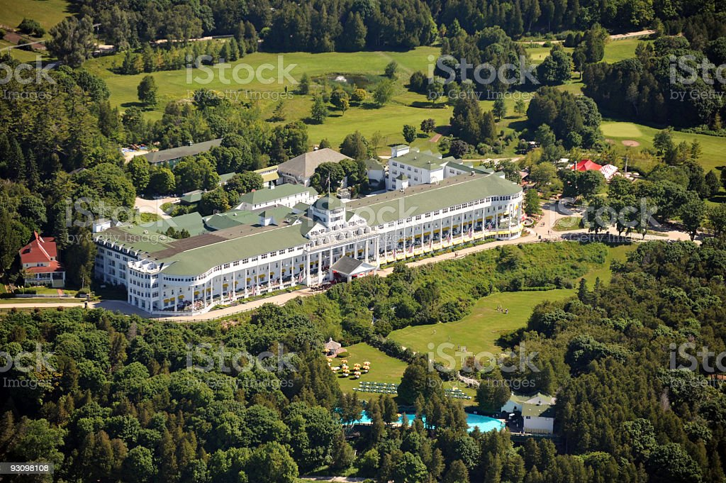 Aerial View of the Grand Hotel, Michigan, USA stock photo