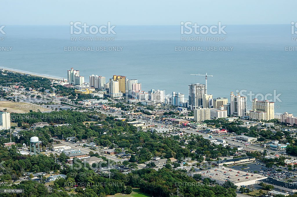 Aerial View of the Grand Strand of Myrtle Beach, South Carolina stock photo