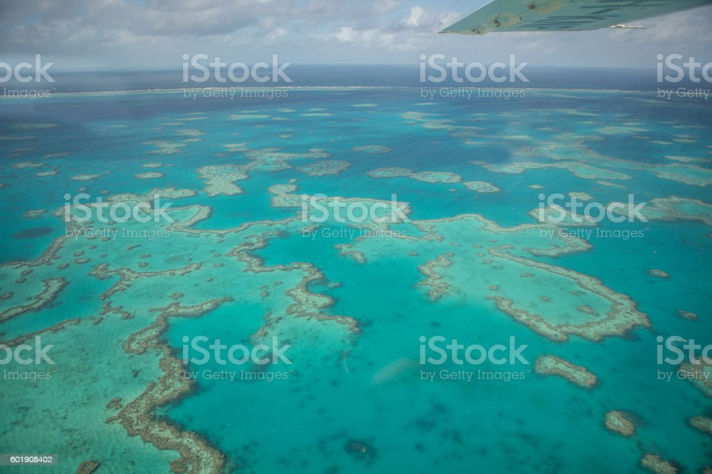 Aerial view of the Great barrier reef stock photo