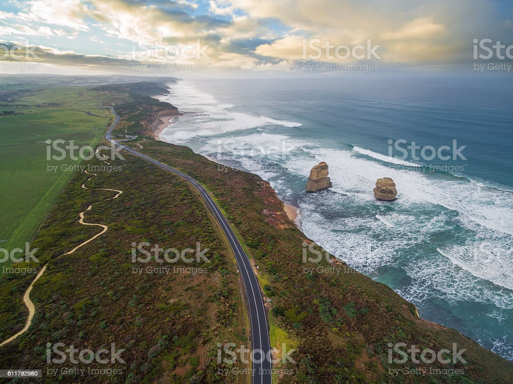 Aerial view of the great ocean road with Gog Magog stock photo