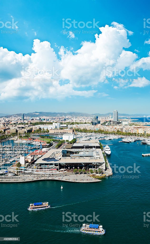 Aerial view of the Harbor district in Barcelona, Spain stock photo