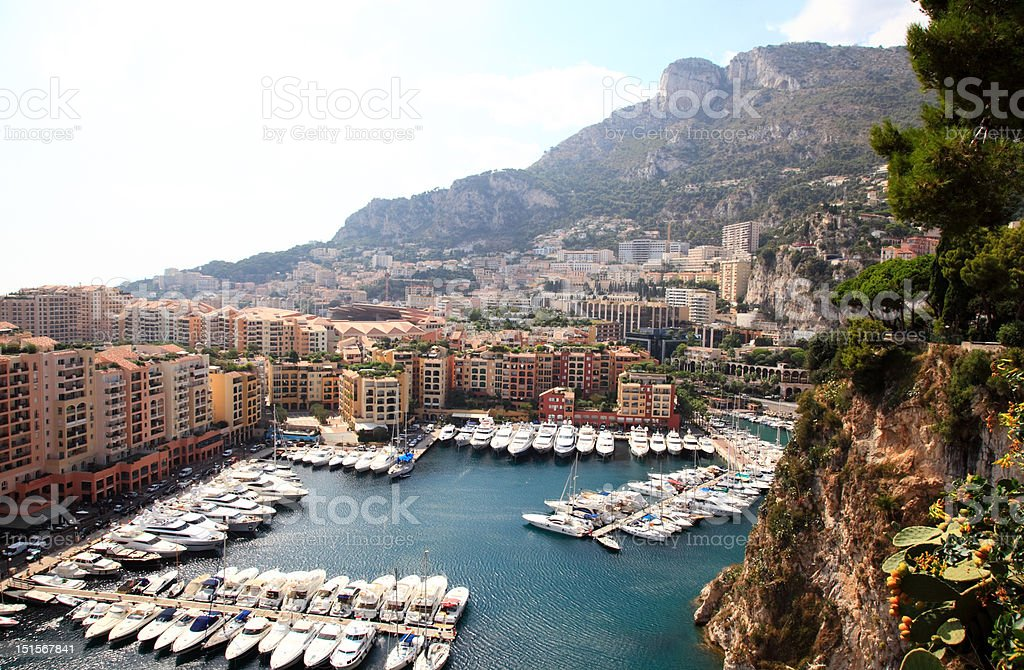 aerial view of the high-rise apartments and marina in Monaco royalty-free stock photo