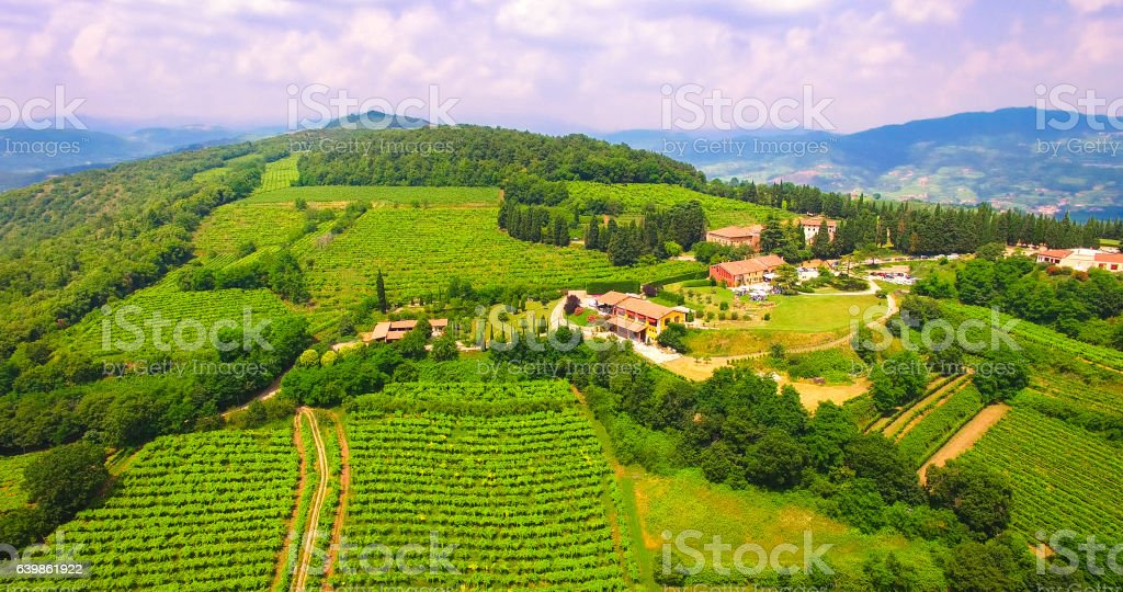 Aerial view of the hills around Soave. stock photo
