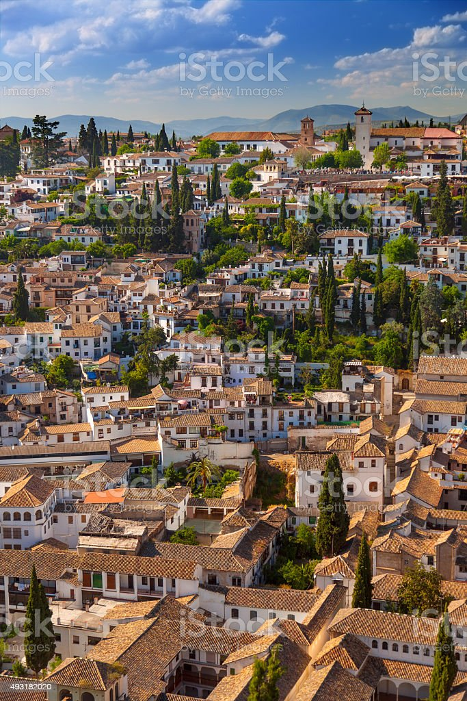Aerial View of the historical city of Granada, Spain stock photo