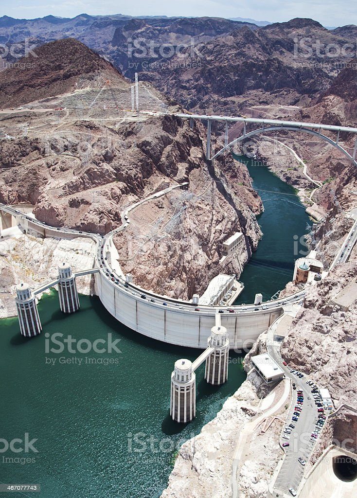 Aerial View of the Hoover Dam stock photo