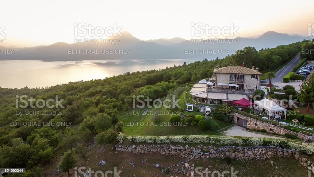 Aerial view of the house of spirits, famous restaurant in Costermano,...