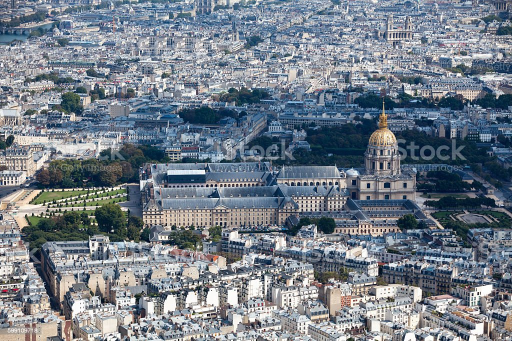 Aerial view of the Hôtel des Invalides stock photo