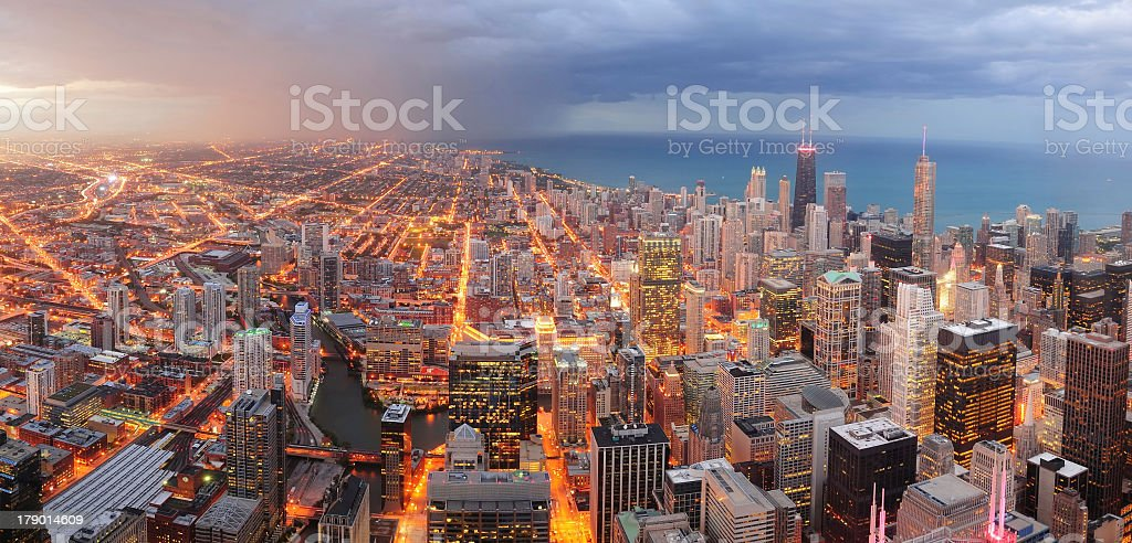 Aerial view of the illuminated streets of Chicago downtown stock photo