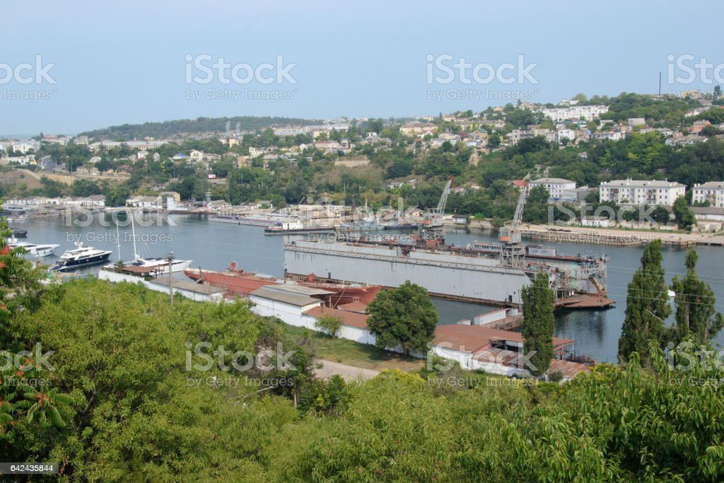 Aerial view of the industrial port stock photo