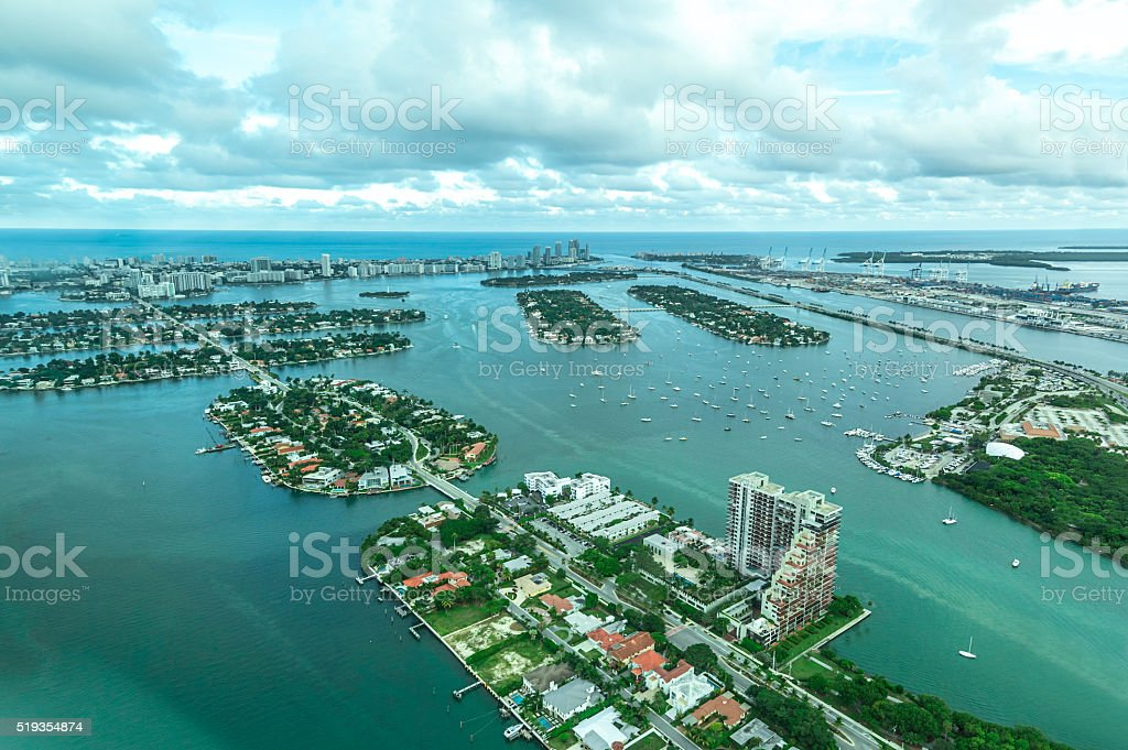Aerial View of the Islands in Biscayne Bay, Miami stock photo
