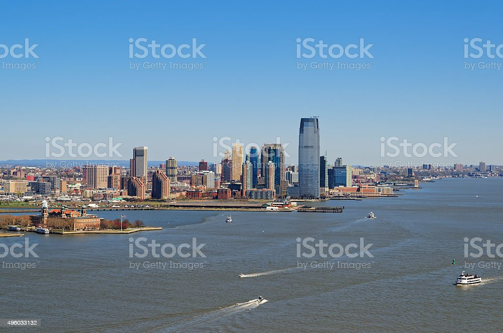 Aerial view of the Jersey city, New Jersey stock photo