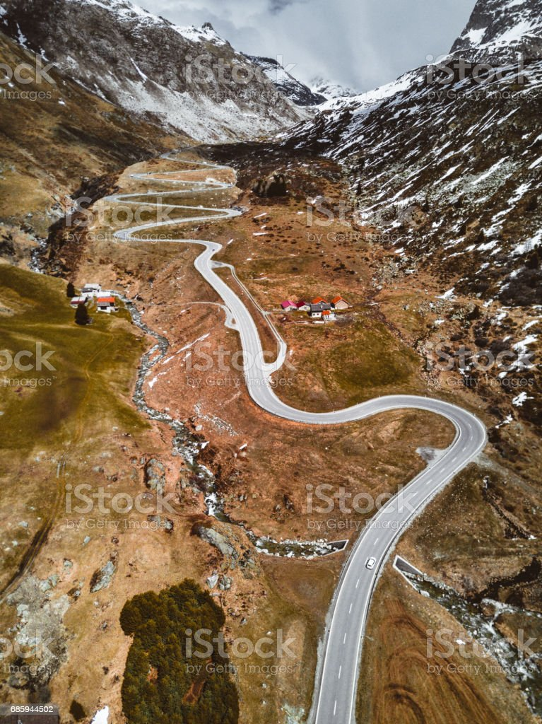 aerial view of the julierpass in switzerland stock photo