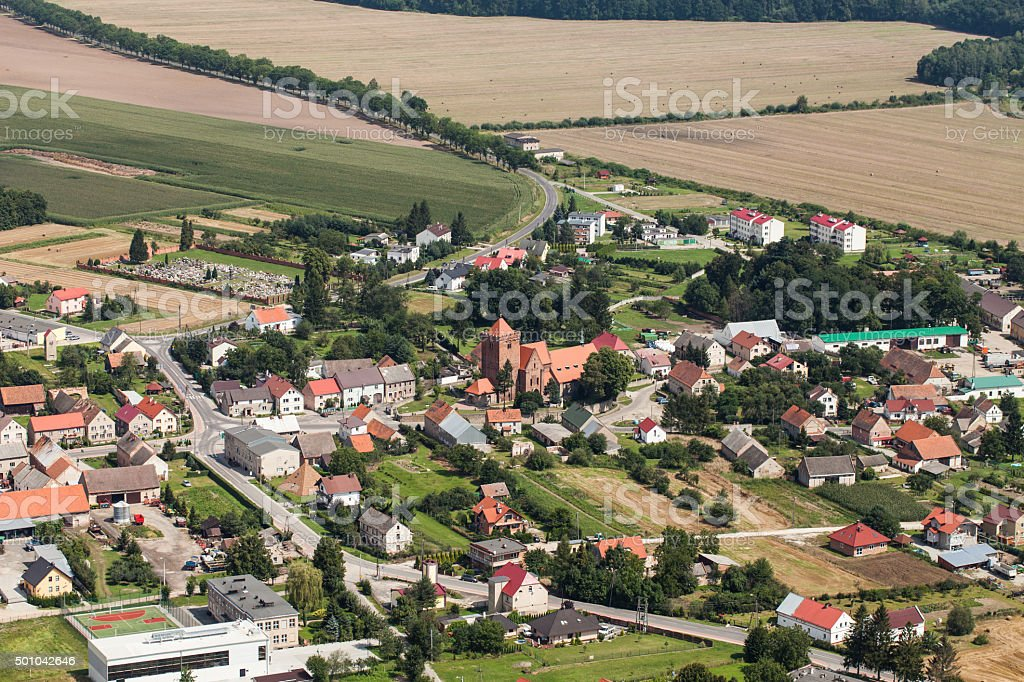 aerial view of the Kalkow village near Nysa city stock photo