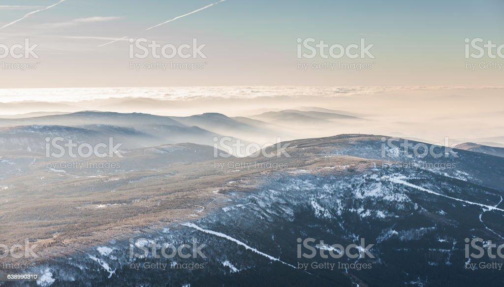 aerial view of the  Karkonosze mountains in Poland stock photo