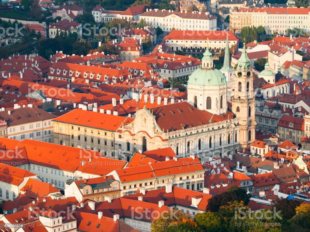 Aerial view of the Lesser Town, aka Mala Strana, with stock photo