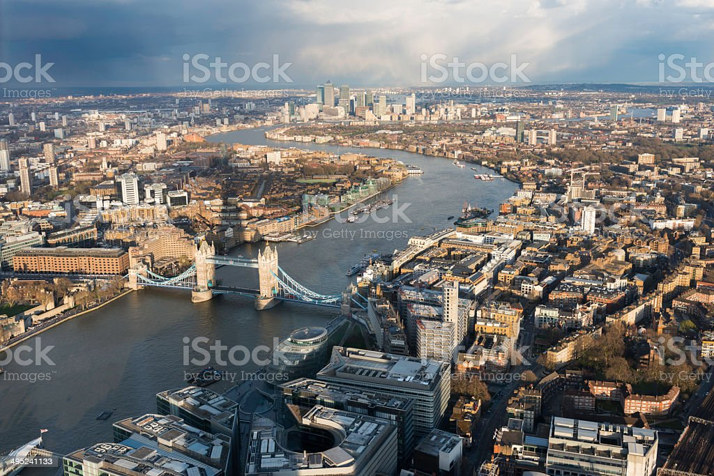 Aerial view of the London Bridge and the river Thames stock photo