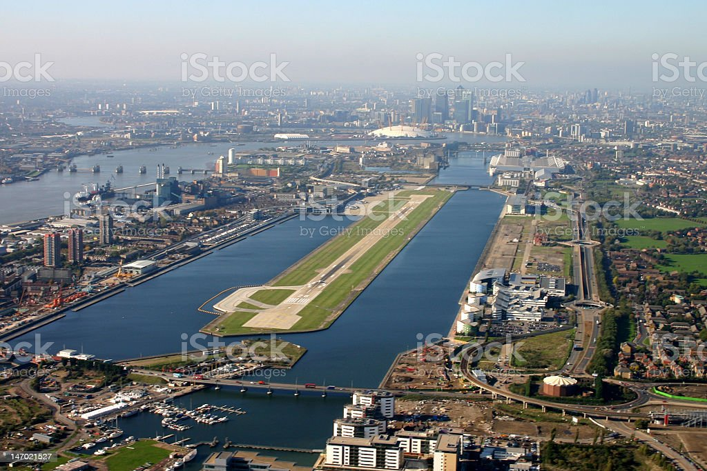 Aerial view of the London City Airport stock photo