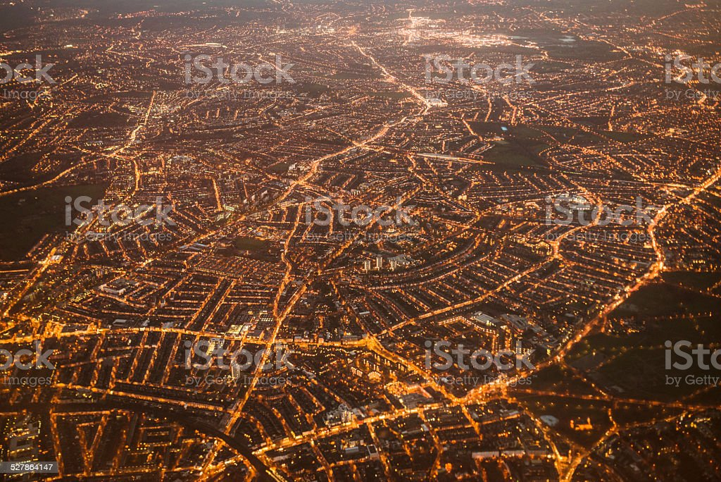 Aerial view of the london city from the airplane stock photo
