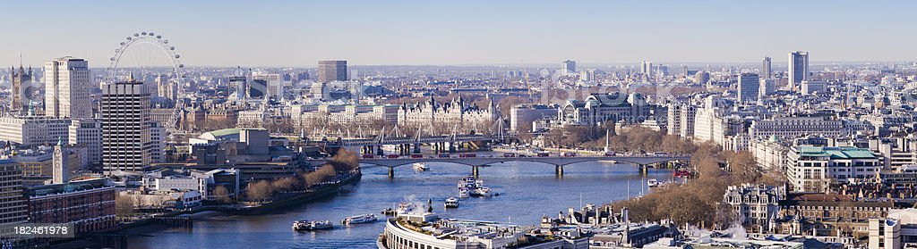 Aerial View of the London City Skyline UK stock photo