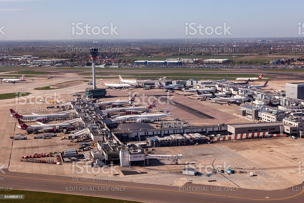 Aerial view of the London Heathrow Airport stock photo