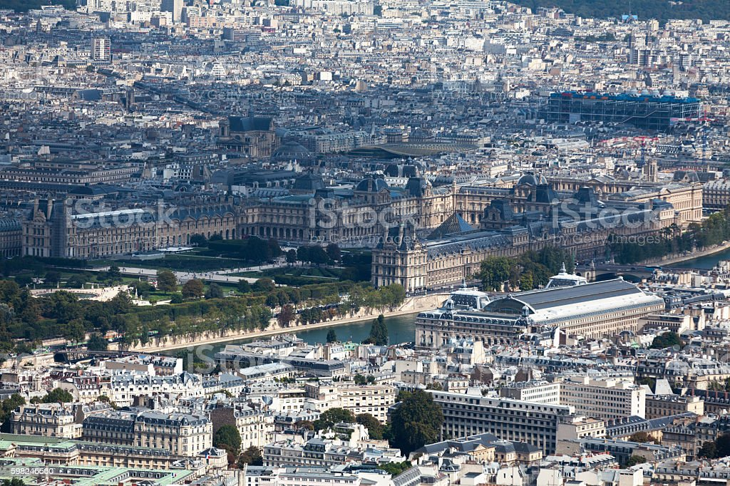 Aerial view of the Louvre stock photo