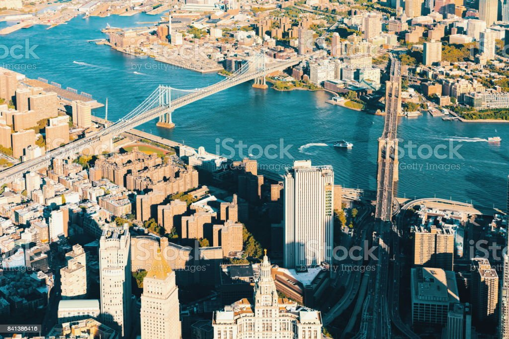 Aerial view of the Lower East Side of Manhattan stock photo